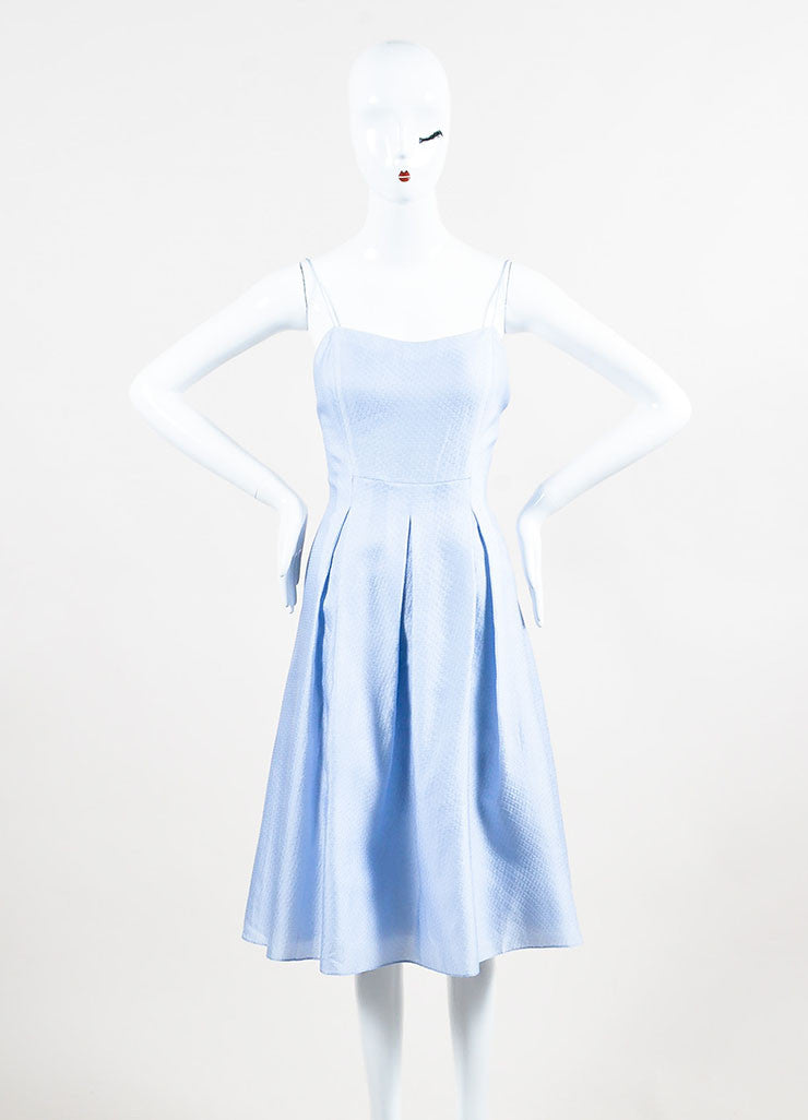 Periwinkle Blue Kay Unger Silk Textured Pleated A Line Dress Front