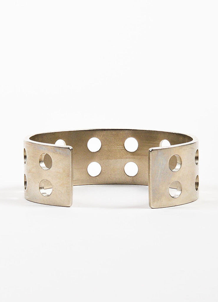 Silver Toned Kelly Wearstler Double Row Perforations Cuff Backview