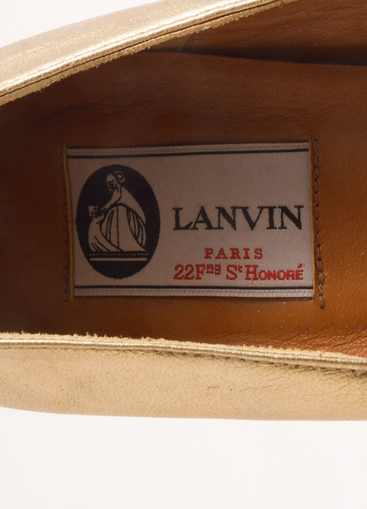 Lanvin Gold Leather Espadrille Wedges Brand
