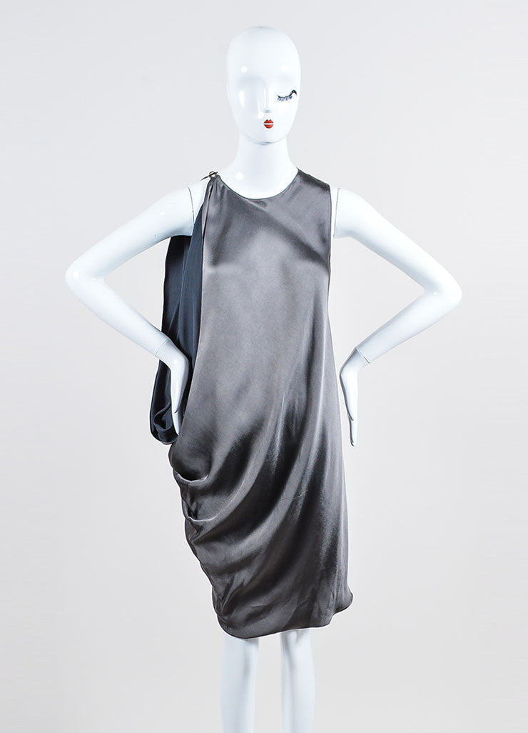 Lanvin Smoky Grey Asymmetrical Bat Wing Sleeveless Dress Frontview