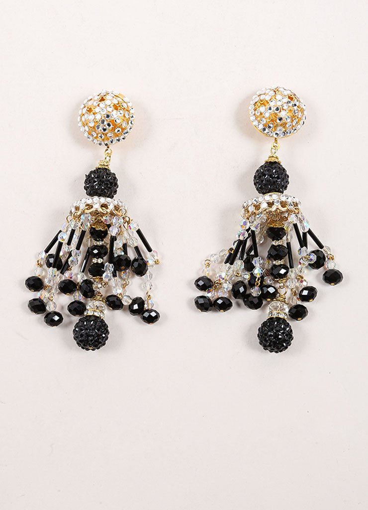 Lawrence Vrba Black and Gold Toned Bead and Rhinestone Chandelier Earrings Frontview