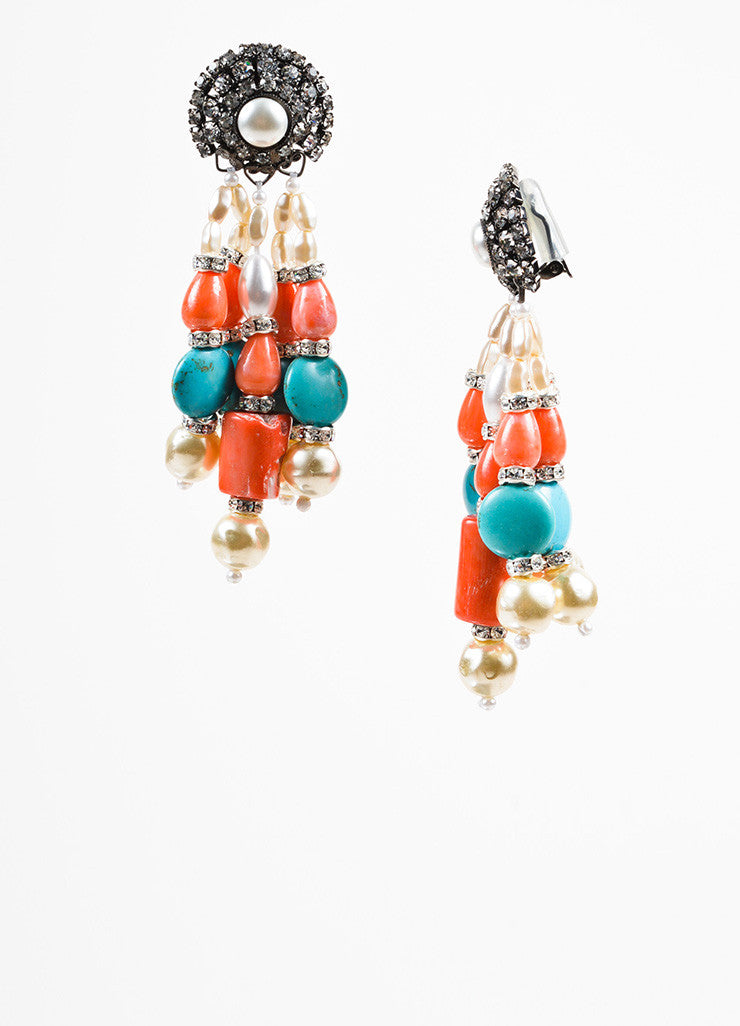 Lawrence Vrba Turquoise Coral Faux Pearl Crystal Beaded Drop Clip On Earrings Sideview