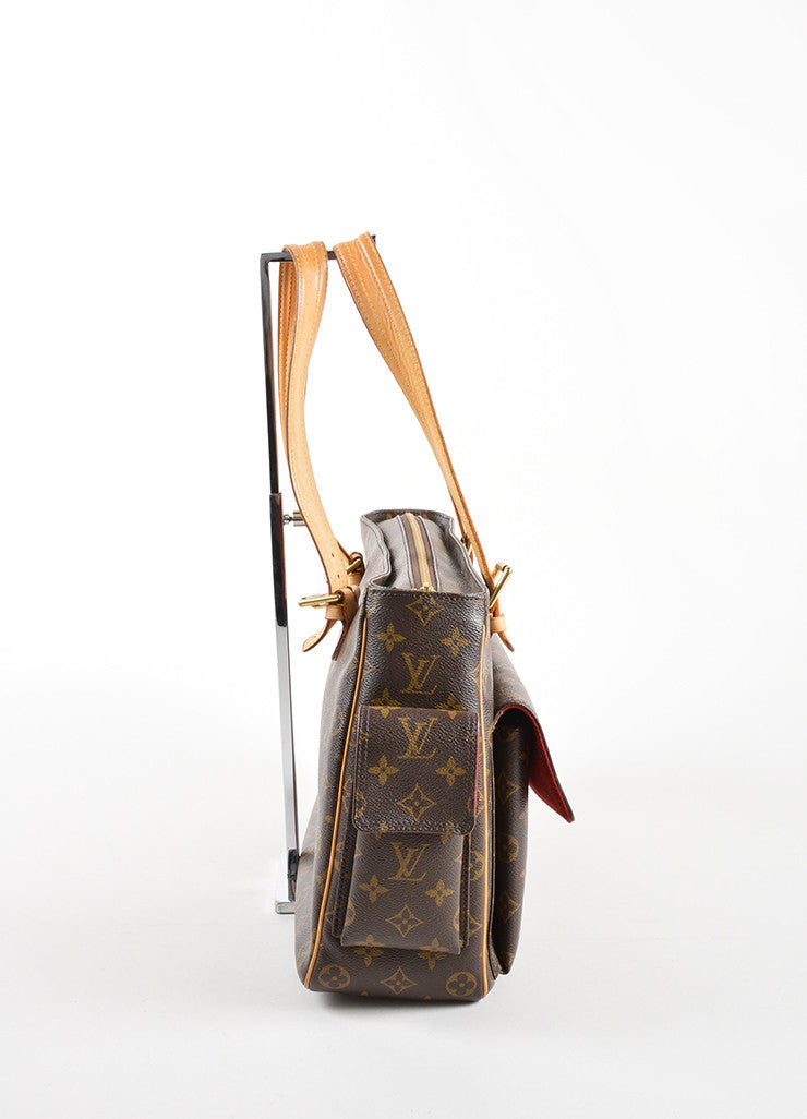 "Louis Vuitton Brown Monogram Canvas and Leather ""Multipli Cite"" Tote Bag Sideview"