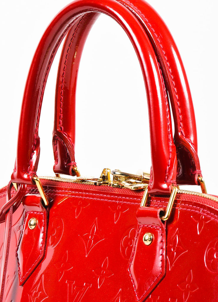 "Louis Vuitton ""Pomme"" Red ""Vernis"" Leather Monogram ""Alma GM"" Satchel Bag Detail 3"