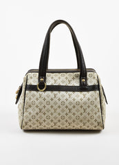 "Beige & Green Louis Vuitton Canvas Monogram ""Josephine PM"" Bag Front"