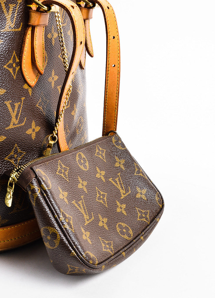 "Louis Vuitton Brown and Tan Coated Canvas and Leather ""Petite Bucket"" Shoulder Bag Detail 3"