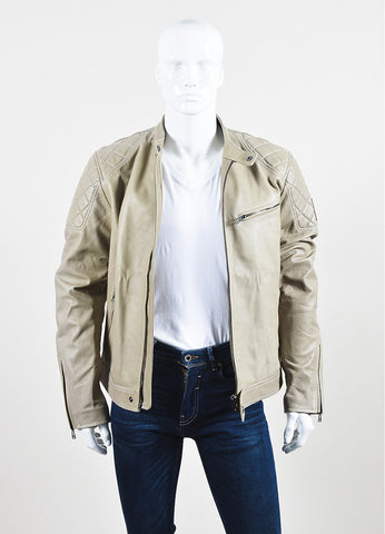 "Men's Belstaff Beige Leather Quilted ""Braxton"" Moto Jacket Front"