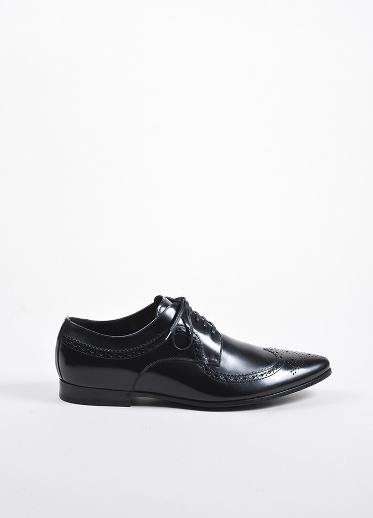 Mens Black Dolce & Gabbana Leather Lace Up Oxford Shoes Side
