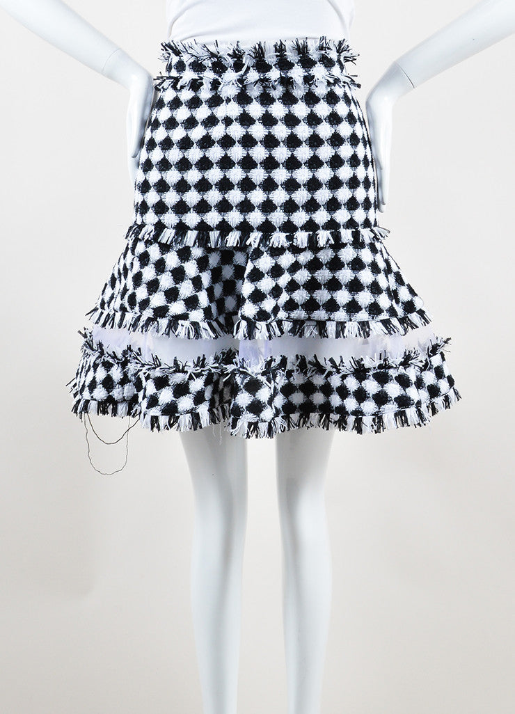 MSGM Black and White Cotton Tweed Sheer Panel Flared Mini Skirt Frontview