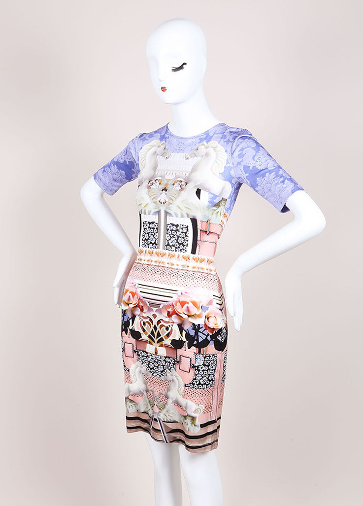 "Mary Katrantzou New With Tags Pink and Blue Silk Jersey Photo Print ""Powdy"" Dress Sideview"