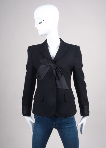 Moschino Black Wool Bow Embellished Blazer Frontview