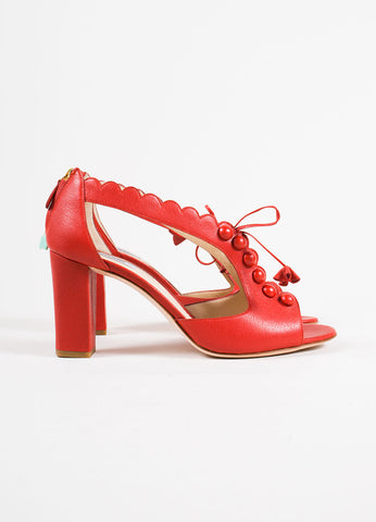 Moschino Red Leather Lace Up Chunky Heel Sandals Side