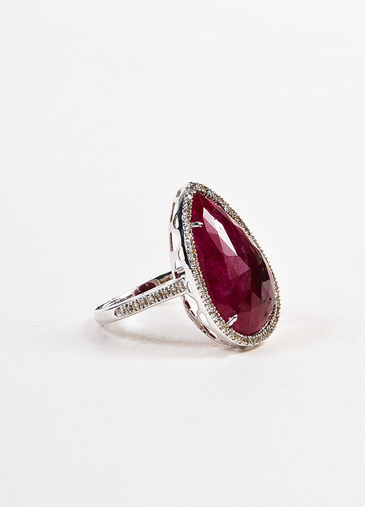 18k White Gold Pear Ruby Pave Diamond Tear Drop Cocktail Ring Sideview