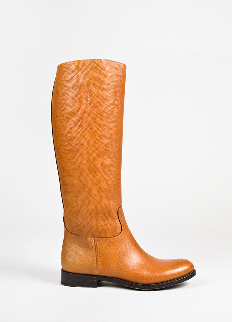 "Prada ""Caramel"" Brown Saffiano Leather Calf High Riding Boots Sideview"