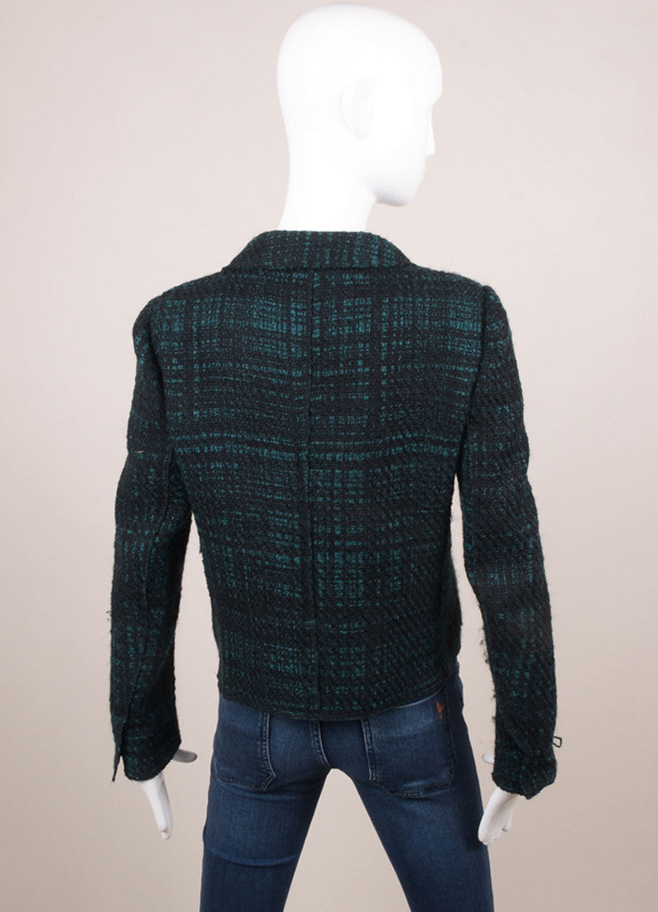 Prada Black and Green Wool Tweed Plaid Long Sleeve Blazer Jacket Backview
