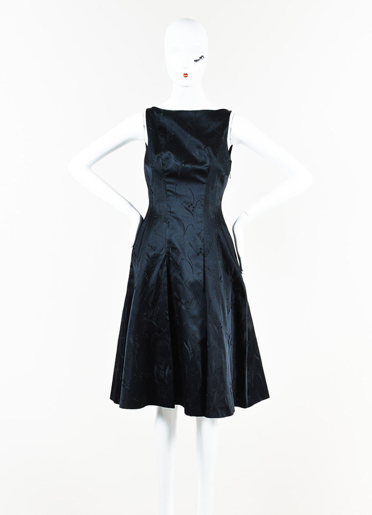 Prada Black Silk Floral Brocade Pleated A-Line Dress front