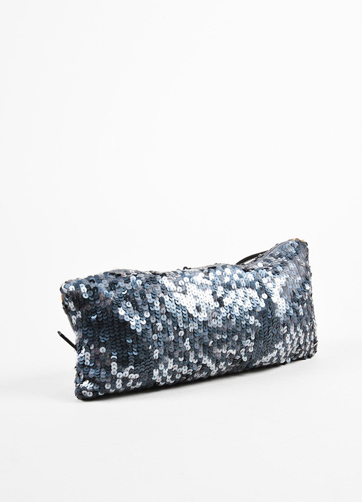Prada Grey Satin Sequin Embellished Evening Shoulder Bag Sideview
