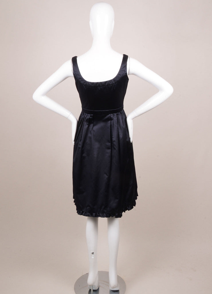 Prada Navy Silk Fit and Flare Ruffle Sleeveless Dress Backview