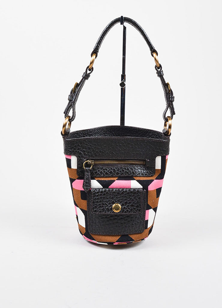 å´?ÌÜPrada Pink, Brown, and White Print Canvas Leather Bucket Shoulder Bag Frontview
