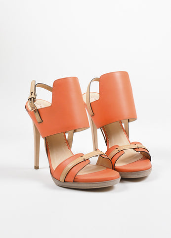 Reed Krakoff Coral Orange and Tan Leather Ankle Strap Sandal Heels Frontview