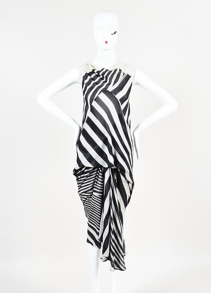 "Rick Owens ""Creatch"" Black and White Mesh Chiffon Multi Striped Draped Dress Frontview"