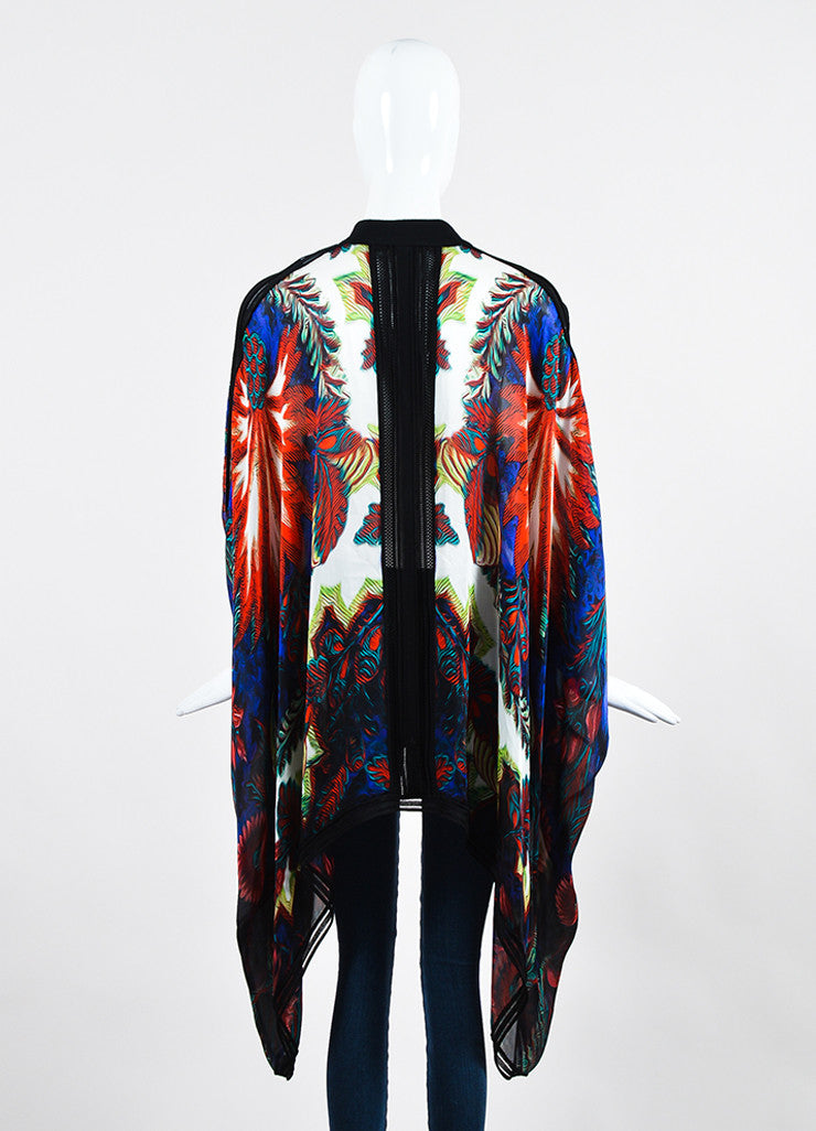 Multicolor Roberto Cavalli Silk Abstract Printed Sheer Caftan Tunic Backview