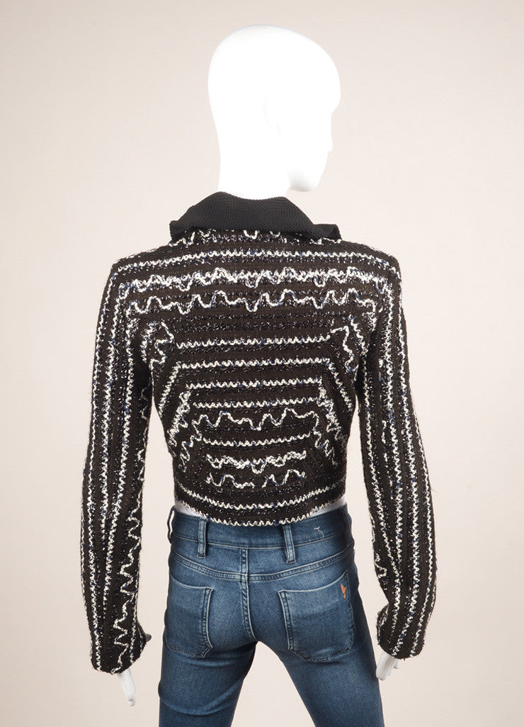 Roland Mouret Black and White Cotton Blend Metallic Zig Zag Knit Cropped Jacket Backview