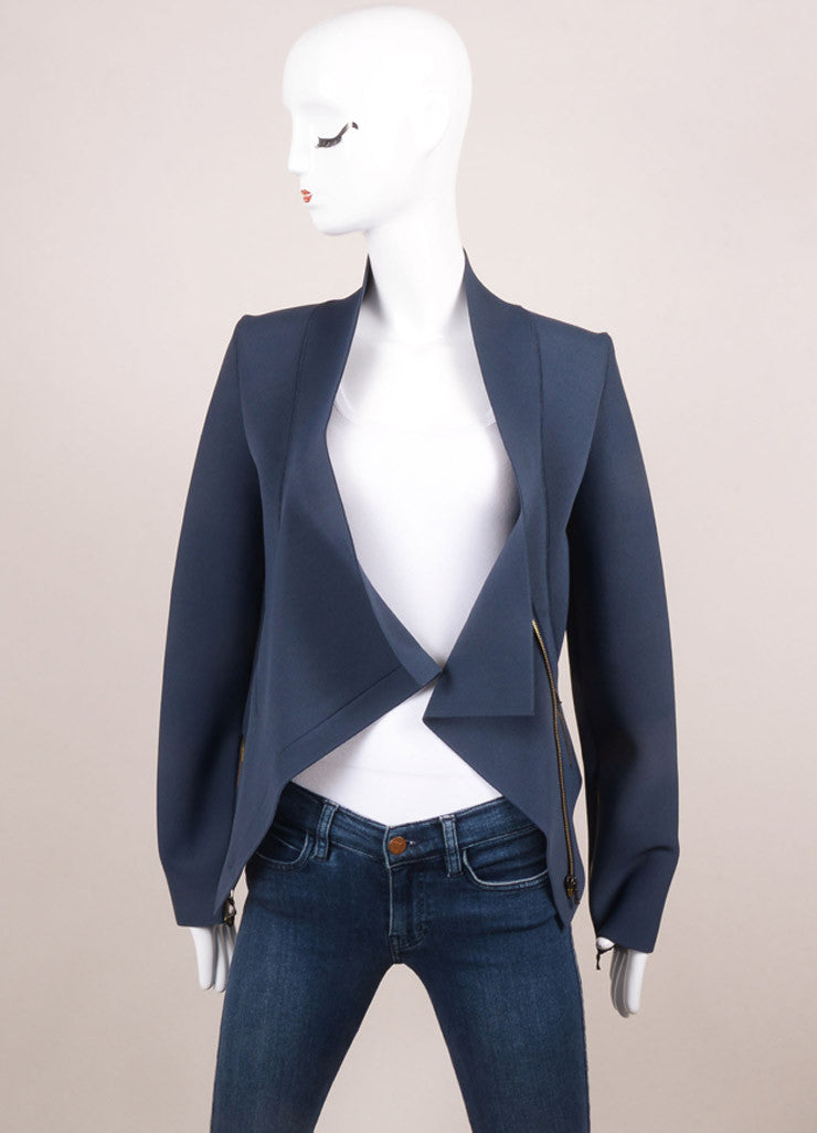 Roland Mouret New With Tags Blue and Grey Spandex Knit Fitted Zip Jacket Frontview