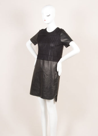 Salvatore Ferragamo Black Leather Netted Panel Short Sleeve Dress Sideview