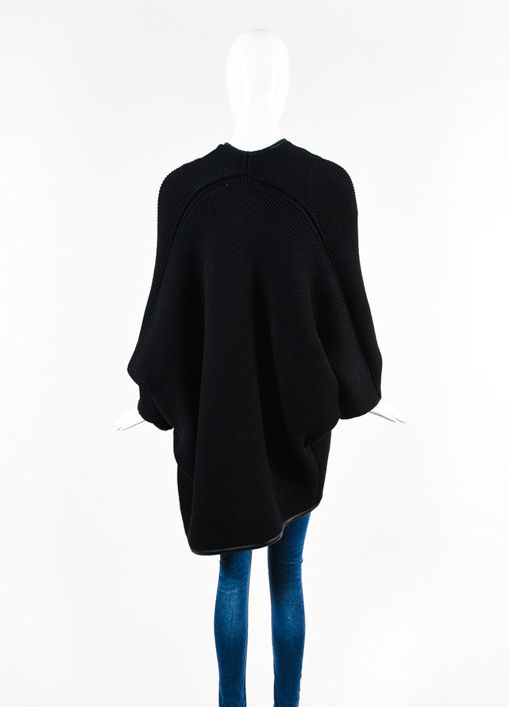 Salvatore Ferragamo Black Wool Leather Trimmed Oversized Sweater Backview