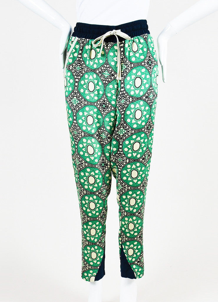 Sea Green, Navy, and Beige Silk Drawstring Kaleidoscope Pants Frontview