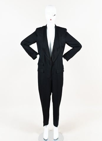Stella McCartney Black Silk Tuxedo Style Long Sleeve Straight Leg Jumpsuit Frontview