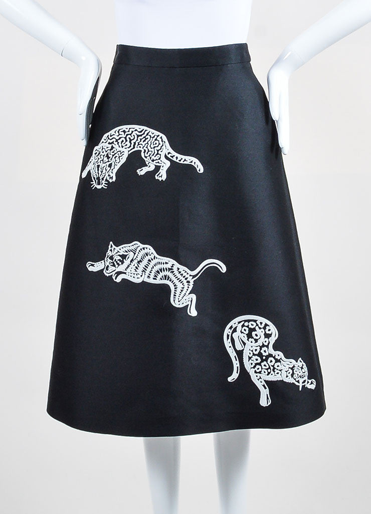 "Black and White Stella McCartney ""Lindsey Wild Cats"" A-Line Skirt Frontview"