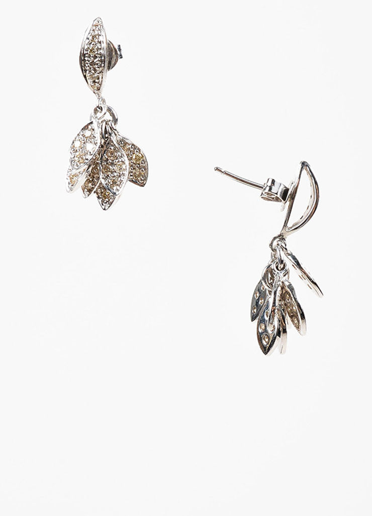 Sydney Evan 14K White Gold and Pave Diamond Cluster Small Leaf Drop Earrings Sideview