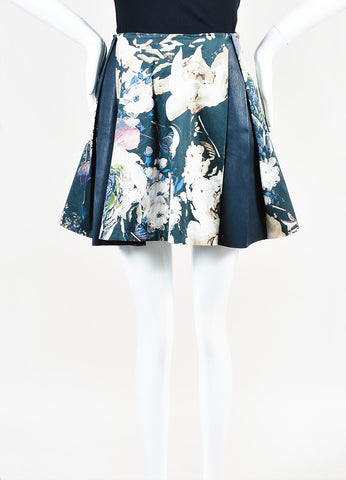 Thakoon Green Multicolor Blue Leather Panel Floral Panel Pleated Skirt Frontview