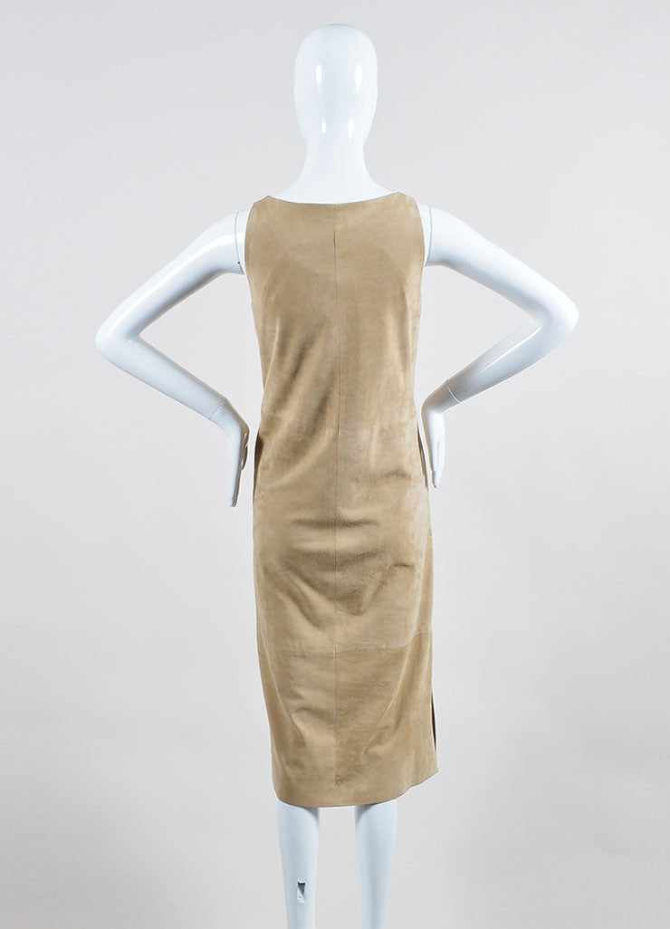 "The Row Beige Suede V-Neck ""Rahool"" Sleeveless Shift Dress Backview"