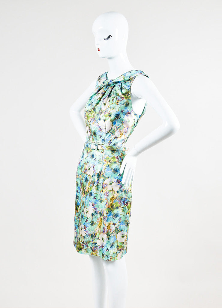Theia Multicolor Pique Knit Silk Floral Print Belted Sheath Dress Sideview