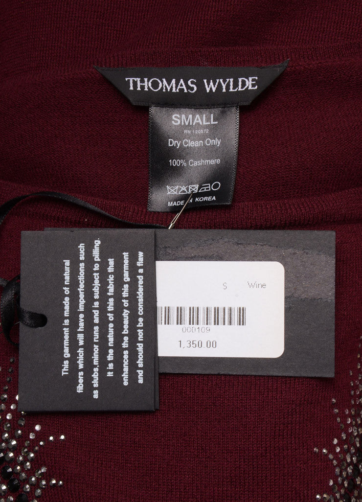 "Thomas Wylde New With Tags Red Cashmere Sequin ""Fly Away"" Tunic Sweater Brand"