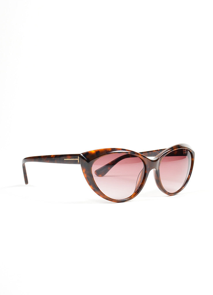 "Tortoise Brown Purple Lens Tom Ford Cat Eye Frame ""TF231"" ""Martina"" Sunglasses Sideview"