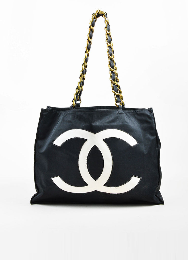 Black and White Chanel GHW Jumbo 'CC' Nylon Chain Strap Tote Bag Frontview