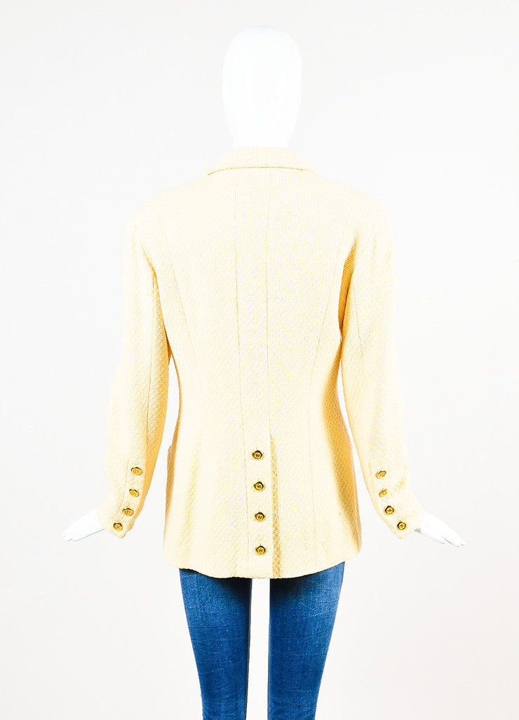 Chanel Yellow and Gold Toned Boucle 'CC' Button Long Jacket Backview
