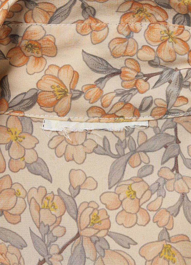 Chanel Peach Floral Print Pleated Skirt And Sleeveless Blouse Set Detail 2
