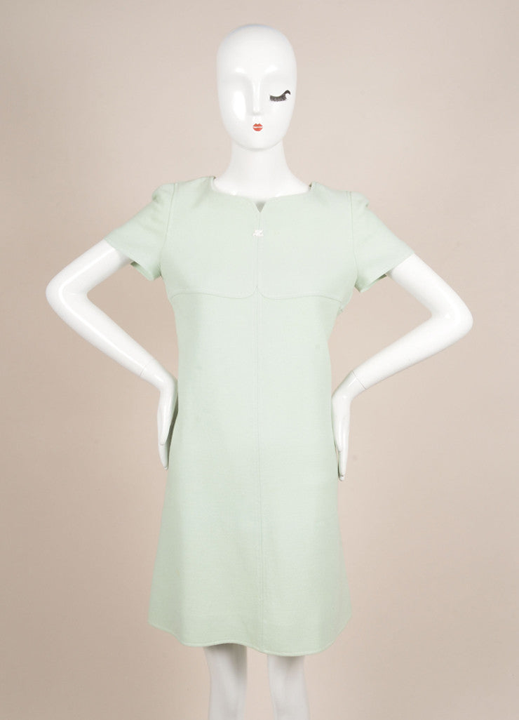 Courreges Mint Wool Short Sleeve Shift Dress Frontview
