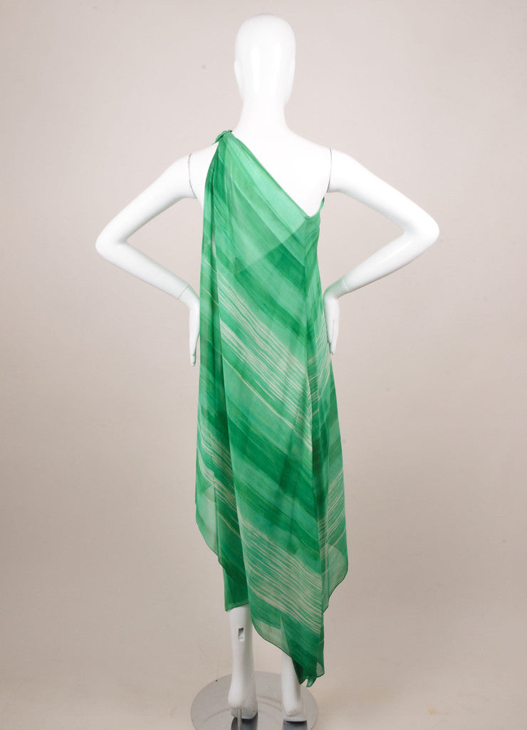 Halston Green and White Watercolor Striped One Shoulder Draped Dress Backview