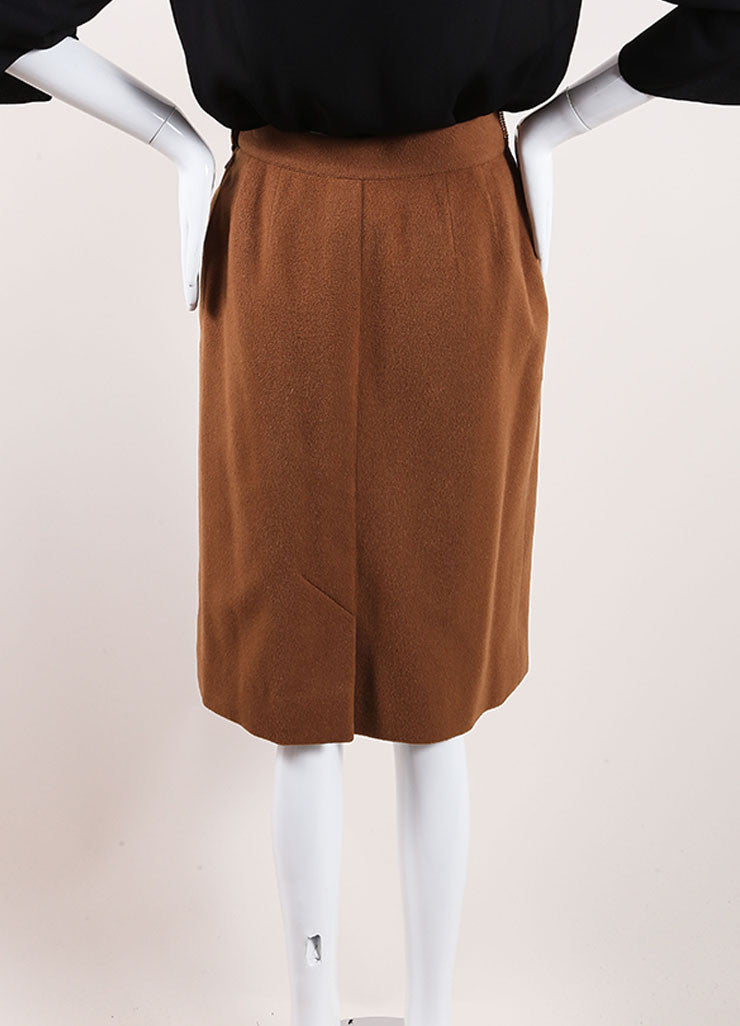 Hermes Brown Cashmere Leather Belted Pencil Skirt Backview