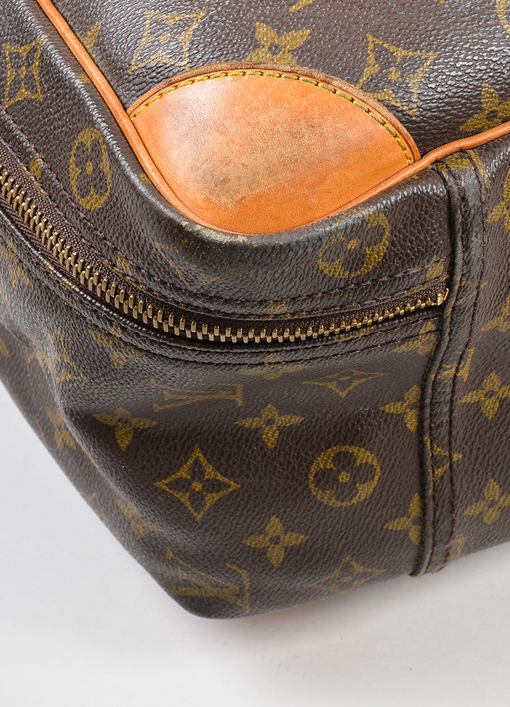 "Louis Vuitton Brown and Tan Canvas and Leather Monogram ""Sirius 60"" Suitcase Detail"