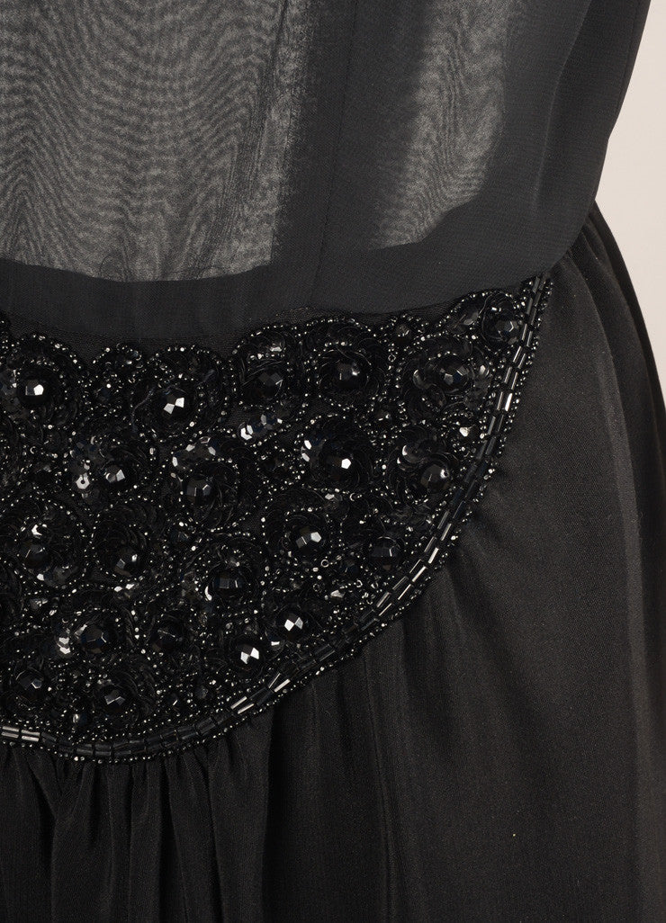 Oscar de la Renta Black Silk Beaded Sheer Sleeveless Dress Detail