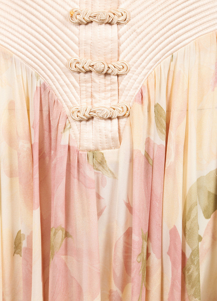 Valentino Pink Silk Lace Trim Floral Print Sheer Full Length Dress Detail