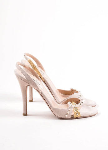 Valentino Nude and Gold Toned Snakeskin Studded Slingback Sandals Sideview