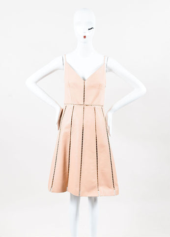 Valentino Beige Leather Cutout Crochet Panel A-Line Dress Frontview